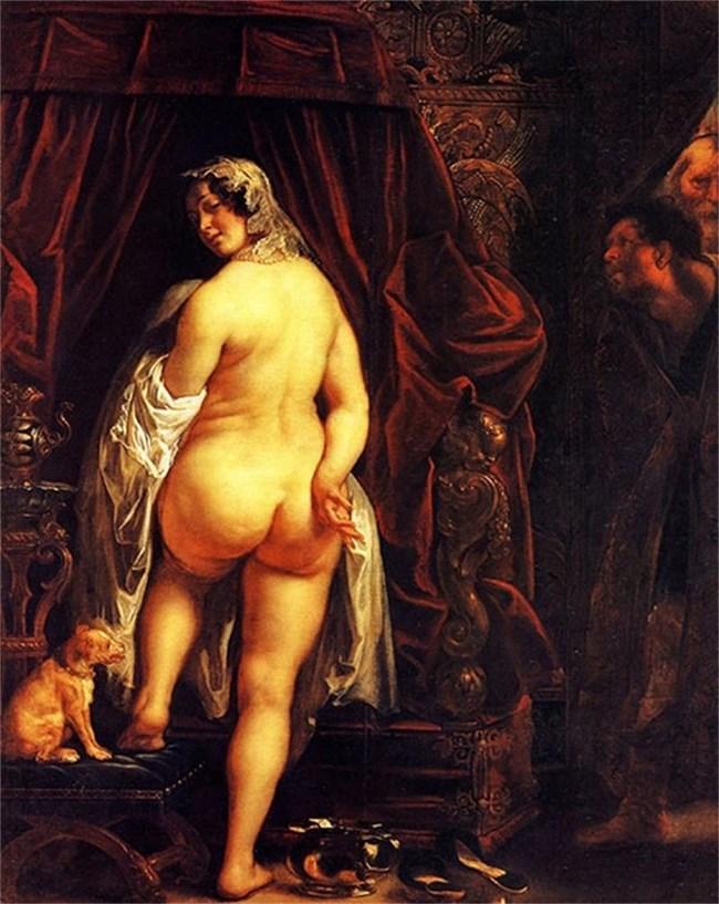 """Якоб Йорданс, """"Кандавъл, цар на Лидия, показва голата си жена на Гиг"""", 1646 г."""