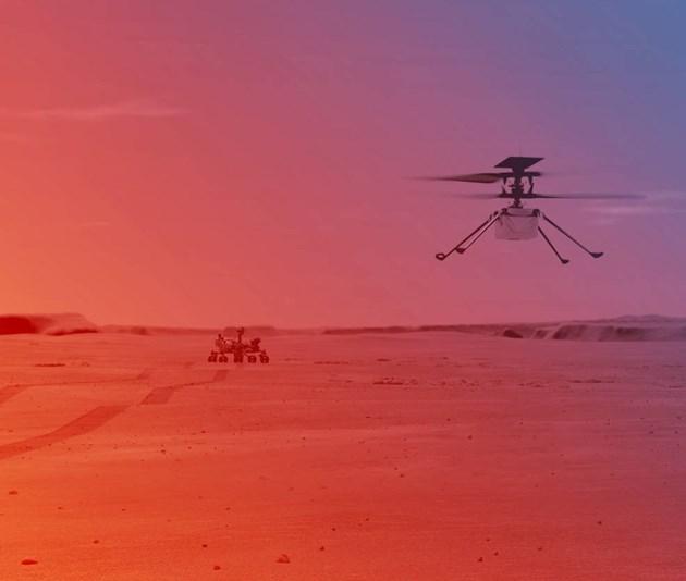 """Хеликоптерът, който прилича на дрон, стигна до Марс с роувъра """"Пърсивиърънс"""" и беше спуснат на повърхността на планетата в началото на април. Марсоходът кацна на Червената планета на 18 февруари."""
