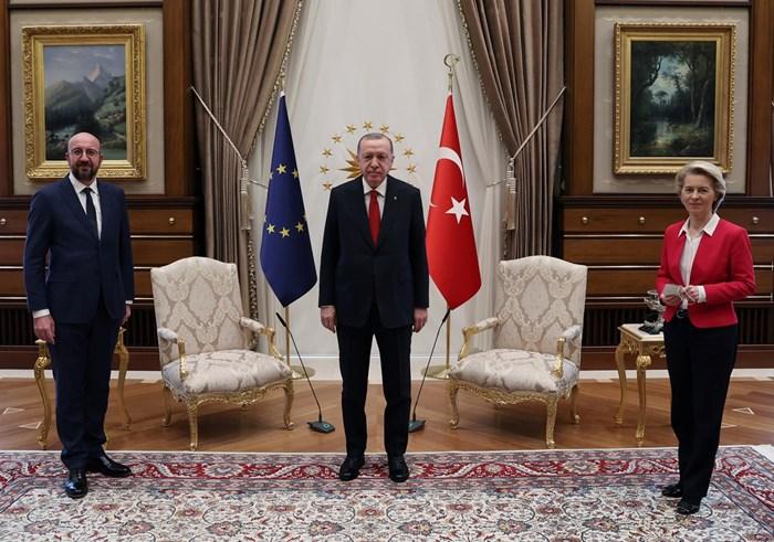 Срещата на Реджеп Ердоган (в средата) с европейските представители е първа от година.