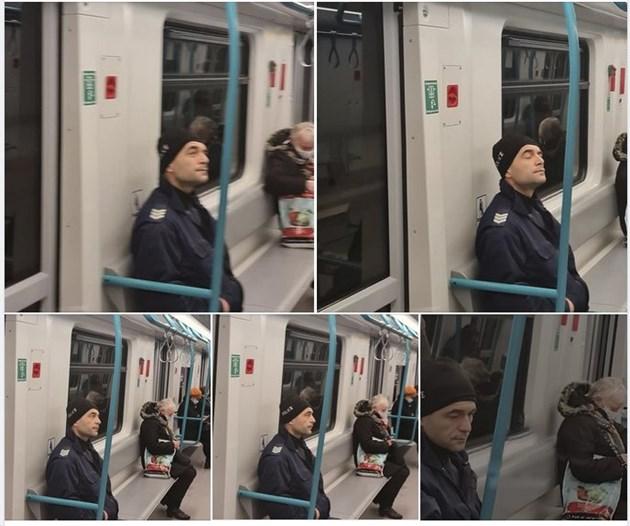 Полицай бе сниман да пътува в метрото без маска.