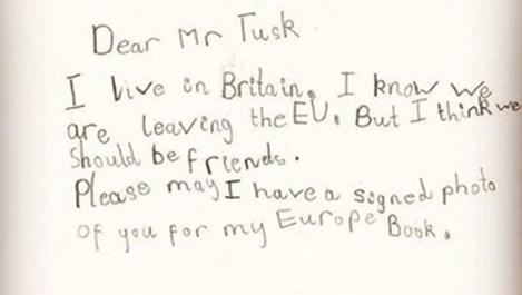 6-годишно британче написа мило писмо до Доналд Туск