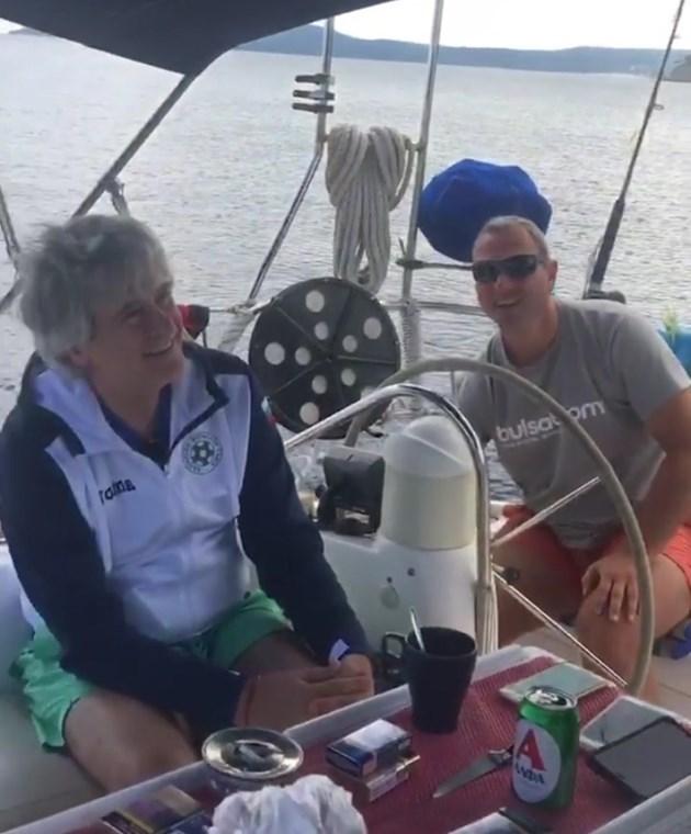 Орлин Горанов на яхта с Алекс Раева