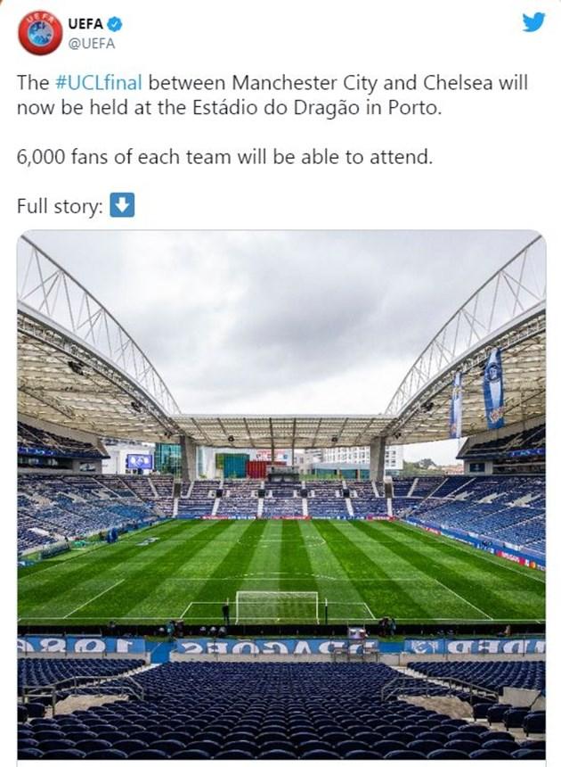 УЕФА официално обяви домакът на финала на ШЛ