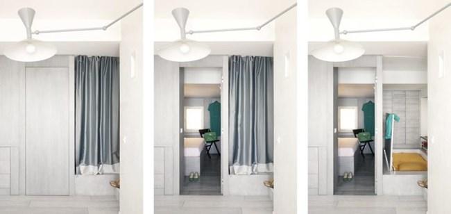 Спалнята е пълноценна и се изолира с врата. Вдясно от нея е допълнителното помещение, в което може да се сложи единично легло, и което се крие зад завеса