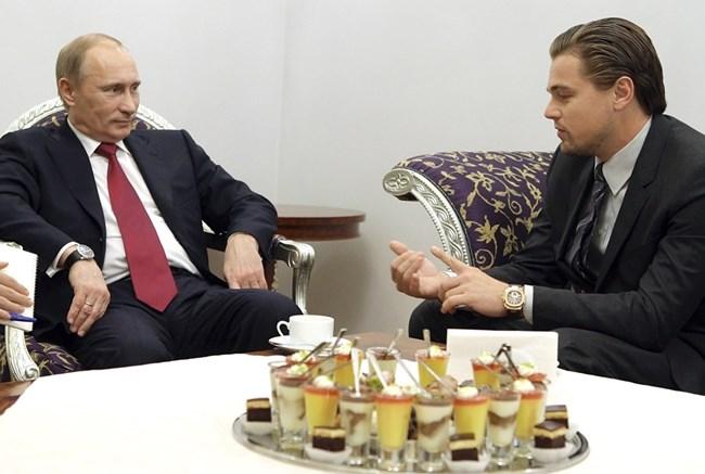Леонардо на срещата си с Путин, на която обсъждат спасяването и увеличаването на популацията на тигрите