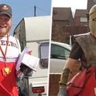 Пощальон забавлява  клиентите си с различни костюми