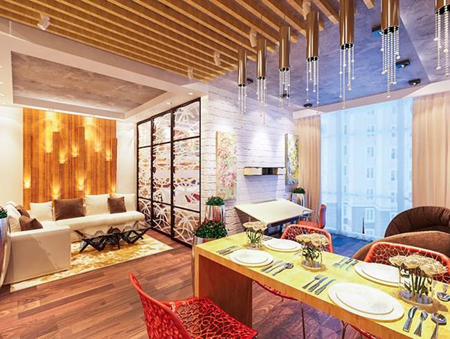 Интериорът е ярък и артистичен с много отблясъци Снимки beautiful-apartments.ru