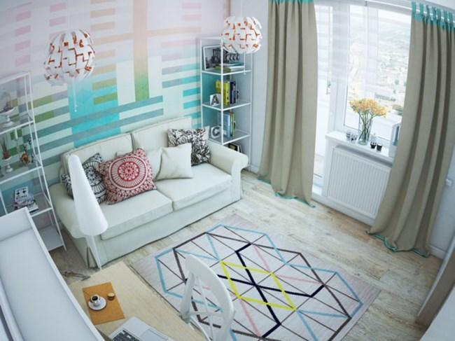Геометричните елементи дават младежко излъчване в дневната