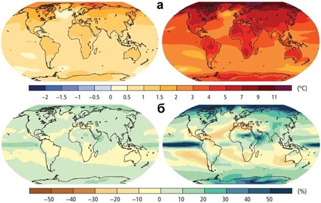Очаквани промени в температурата (а) и валежите (б) при сценарии на намаляване на въглеродните емисии до нива от средата на XX век (ляво) и при липса на усилия за намаляване на емисиите (дясно) – 2081 – 2100 спрямо 1986 – 2005 (по IPCC, 2014)