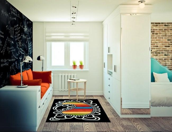 Секцията играе ролята на преграда между дневната и спалнята