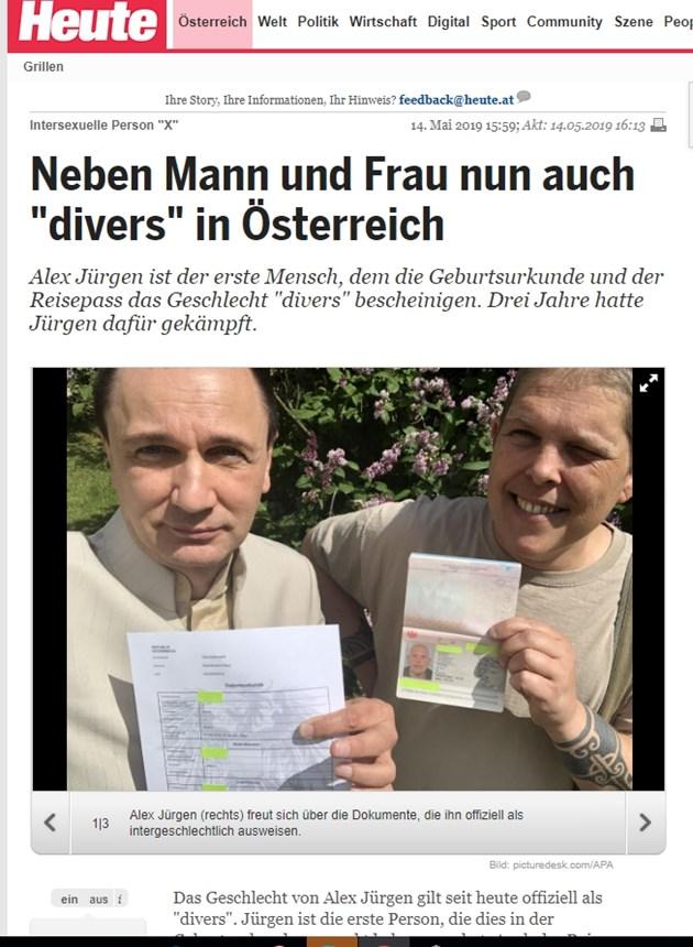 Австриец получи документи, че е от трети пол