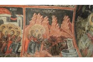 Степонисът в черквата, който показва как Христос е излекувал слепите.