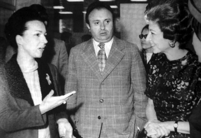 Людмила Живкова в разговор. До нея е Емил Александров, един от заместниците є в Комитета за култура