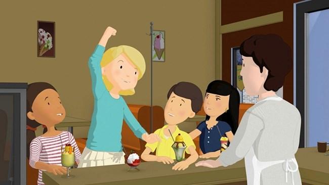 """Мис Стюарт като 10-годишно момиченце в анимационния сериал """"Марта и приятели"""". Филмът има за цел да насърчи девойките да се научат да готвят, като и да опитат от други занаяти."""