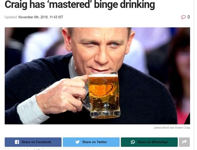 Актьорът Даниел Крейг пие по 18 бири за 30 мин.