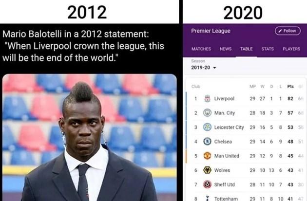 """Балотели през 2012 г.: Когато """"Ливърпул"""" стане шампион, това ще е краят на света"""